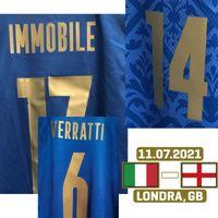 Home Têxtil 2021 EUR Final Jogador desgastado Projeto Bonucci Chiesa Insigne Imóvel Jorginho Spinazzola com Finale MatchDetails Futebol Patch Badge