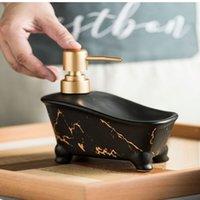 Soap Dispenser Bathtub Shape Marble Pattern Ceramic Shampoo Bottles Dish Hand Washing Empty Refill Sub-bottle