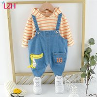 Clothing Sets LZH 2021 Spring Hooded Warm Clothes For Kids Leisure Loose Children's Sports Suit Sweatshirt Cartoon Denim Overalls Boy