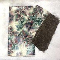 Tissu damassé pour femmes 2021 Bazin Brode Tissu avec Tasswl Dernier tissu de brocart africain 5 + 2Yards / lot bt30
