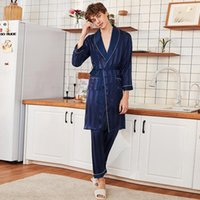 Men's Sleepwear Spring And Summer Silk Long-Sleeved Trousers Solid Satin Striped Nightgown Pajama Suit Lounge Bathrobe Pijamas Verano