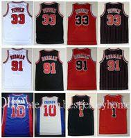 كلية ترتدي التطريز 33 # سكوت بيبن قميص رجالي كرة السلة الفانيلة الأحمر الأبيض سوداء الشريط 91 # دينيس رودمان جيرسي مخيط S-XXL