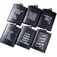 8z-Edelstahl-Hüftflasche englischer Buchstabe Schwarz Personalisieren-Flasche Outdoor-tragbare Flagon Whisky-Strohwein-Topf Alkohol Flasche CYZ3111