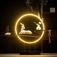 Branco Elk Backflow Incenso Burner 20 Pcs Cones Fumo Cachoeira Varas Holder Home Decoração Porcelana Censper Ornaments Fragrância Lâmpadas