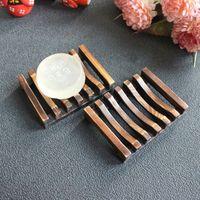 Jabón de madera hueco estante de madera natural bambú bandeja de bandeja fregadero cubierta baño ducha caja