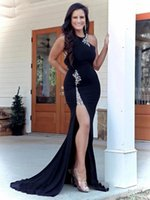 Sexy Black Chiffon Mermaid Long Evening Dresses Halter Neck Crystals Beaded Sleeveless Formal Woman Party Dress Backless Prom Gowns With Split