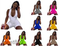 Women Jumpsuit summer New women's Designer Fashion V neck sports Onesies Solid color Slim sleeveless vest shorts Sexy Casual Rompers