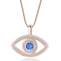 Мода Глаза злых кулон Ожерелья Микро инкрустация Zircon Ожерелье Голубые глаза Ювелирные украшения Аксессуары Личность Оригинальность Простота 8WL Y2