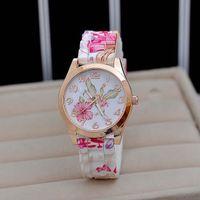 Designer Luxury Marca relógios Otoky Moda Feminina Menina Mulheres Silicone Impresso Flor Causal Quartz Wrists Mulheres Jul3 es PK