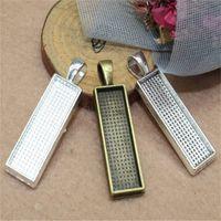 تناسب 10 * 25 ملليمتر مستطيل كبوشن العتيقة الفضة / البرونزية الفضة الزجاج الإطار الحافة إعدادات قلادة صينية فارغة 10 قطعة / الوحدة 1658 Q2