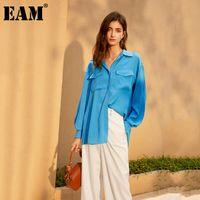 [EAM] Frauen Blau Kurzer großer Größe Vintage Bluse Revers Langarm Lose Fit Hemd Mode Flut Frühling Herbst 2021 1DA631 Damen Blusen SH