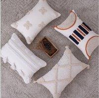 Cushion Decorative Pillow Grey Beige Tassels Embroidery Cushion Cover Home Decoration Wave Sofa Pillowcase Sham 30x50cm 45x45cm