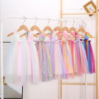 Kinder Kleidung Mädchen Tüll Hosenträger Röcke Sommer Prinzessin Tutu Kleid Ballkleid A-Linie Kleid Tanz Party Costum Casual Rock 7 Designs BT6559