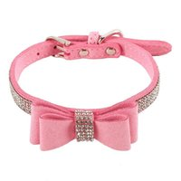 Dog Collars & Leashes Leather Rhinestone Diamante Collar Soft Bow Tie Design For Cat Puppy Small Pet