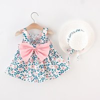 Girl's Dresses Toddler Baby Kids Girls Princess Dress Bowknot Floral Printed Suspenders Hat Set Party Girl Clothes Vestidos
