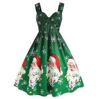 Vestidos informales Vestido de invierno para mujeres 2021 Moda Sexy Talla grande Navidad Santa Claus Copo de nieve Impresión Vintage Party