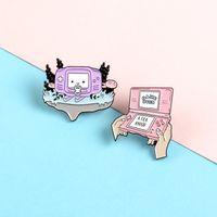 لعبة آلة دبوس خمر الوردي الأرجواني ألعاب الفيديو المينا دبابيس دبابيس الملابس حقيبة جاكيتات التلبيب دبوس شارة مجوهرات 933 Q2