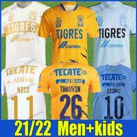 UANL Tigres Gignac Thauvin Futbol Formaları 7 Yıldız Gömlek 2021/22 Leonardo Fernandez Nico Pizarro C.Salcedo Vargas Futbol Jersey Erkekler Kids Kit Camiseta de Tigre Top