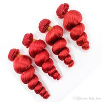 """Pure Red Virgin Peruvian Human Hair Weaves 4Pcs Loose Wavy Hair Weft Extensions Red Colored Virgin Remy Human Hair Bundles Deals 10-30"""""""