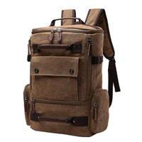 Backpack Men Large Capacity Canvas Multi Pocket Top Handle School Bag Solid Students Camping Travel Casual Laptop Zipper Closure