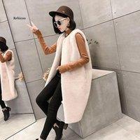 Women's Fur & Faux Women Long Jackets Vest Plus Size 4Xl 5Xl Solid Loose Fleece Thicken Warm Lady Coat Outwear Tops