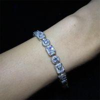 "Männer Square Runde Mischdiamanten Armband Bling Tenns Armband Gold Silber 8 ""Zoll 8mm Simulieren Dimonds Armreifen Braceles 983 Q2"