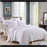 Bettwäsche liefert Textilien Home GardenFamvotar Solide Weiß 100Prente Baumwolle 3-piece Steppdecke-Set Floral Nähen Königin Größe REVER