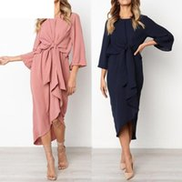 Casual Dresses JAYCOSIN Women Dress Evening Party Vestido Solid Irregular Hem Bow Tie Fashion Office Formal Dropshiping 18Aug14