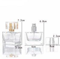 Square 30 ml de flacons de parfum de verre vide clair en gros spray de bouteille d'huile essentielle pour parfums Emballage cosmétique EWF6137