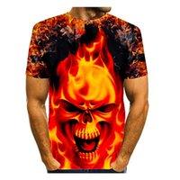 T-shirt imprimé 3D de diable Crâne Homme Visual Impact Party Top Streetwear Punk Gothic Ronde Cou Haute Qualité Style de muscle américain Style Muscle Sleeve