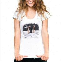 Causal White Summer Girls Print Women T Shirts Short Sleeve O Neck Loose Tops Soft Lady Tshirts