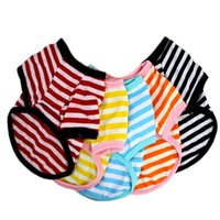 Pet Clothes Elastic Shirt Pet Dog Striped Clothes Cotton Warm Winter T-shirt Puppy Costume Apparel Small Medium Dog Sea Shipping 1829 V2