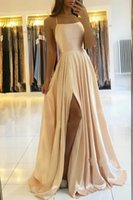 Womens Straps Prom Dress Long High Split Satin Evening Gowns Prom Spaghetti Formal Party Bridesmaid Dresses For Custom Made