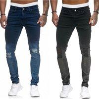 2 cores cor sólida buraco magro Novo mens lavado Slim-Fit Stretch Jeans Hip Hop Lápis Calças para Masculino