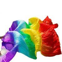 Bühnenverschleiß 100% Natürliche Seide Schleier Dance Fans Handmade1 Paar Bauchtanzen Purpur + Königsblau + Türkis + Grün + Gelb + Orange + rote Farben