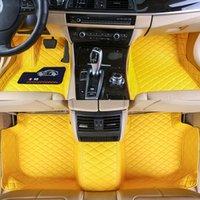 Custom Fit Car Bodenmatten Spezifische wasserdichte Leder umweltfreundliches Material für das Automodell und machen 3 Stück voller Set-Gelb