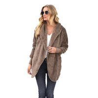 Women's Jackets Plush Coat Women Autumn Winter Clothes Turn-down Collar Button Pocket Solid Loose Office Work Flocking Warm Jacket Streetwea