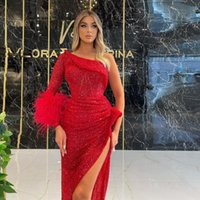 Party Dresses Glitter Red Elegant Evening Long Sleeve Feathers One Shoulder Split Sequins Women Prom Pageant Gowns Plus Size Custom