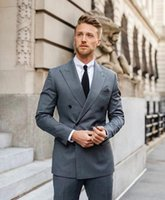 Gray Men Wedding Suits Summer Beach Double Breasted Groom Tuxedos Mens Prom Blazer 2 Pieces Men's & Blazers
