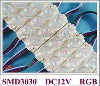 SMD3030 RGB-LED-Modullampe lichtrücken mit Objektiv für Beleuchtungskästen DC12V 75mm * 20mm 360lm Aluminium-PCB-Module