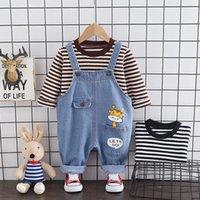 Clothing Sets Children Cotton Clothes Toddler Spring Autumn Baby Boy Girls Stripe T Shirt Cartoon Denim Bib Pants 2Pcs sets Outfit Tracksuit