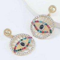 الأزياء والمجوهرات سبائك مطعمة الماس الاكريليك جولة العين الأقراط الشعبية