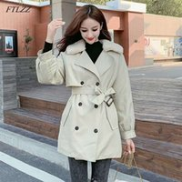 FTLZZ New Thick Medium Long Trench Coat Women Double Breasted Casual Slim Belt Aritificial Fur Vintage Windbreaker Outwear1