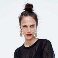 Dangle Chandelier Solememo Geometric Drop Orecchini rotondi Quadrato per le donne Fashion Semplice gioielli regali di Natale E4126
