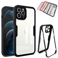 360 Full Body Clear Transparent Acrylic Phone Cases For Iphone 12 Mini 11 Pro Max XS XR X 8 7 Plus 2 in 1 Dual Layer Protective Cover with PET Screen Protectors