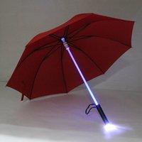 멋진 블레이드 러너 라이트 세이버 LED 플래시 라이트 우산 장미 우산 병 우산 손전등 야간 워커