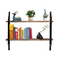 2-tier الحديثة ريفي رفوف الجدار العائمة جدار الخشب الجرف للعرض، الكتب، التخزين، ديكور