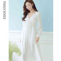 Осенние старинные ночные рубашки V-образным вырезом женские платья принцесса белые сексуальные сонные кружева домашнее платье комфортно давно ночная связь # HH13 S1011