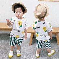 Baby Clothing Sets Boys Suit Children Outfit Clothes Summer Cotton Short Sleeve T-shirts Striped Shorts Pants 2Pcs Casual Kids Wear 1-5Y B5052