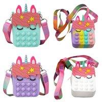 Fidget Toys New Unicorn Simple Dimple Messenger Bag Push Bubble Antistress Children Toy Pops Its Keychain Wallet